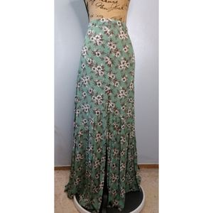 Earthbound Green Button Down Front Maxi Skirt